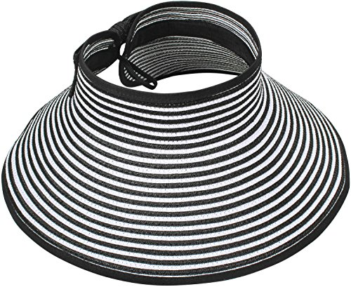 Simplicity Women's Wide Brim Roll-up Straw Hat Sun Visor Black / White Stripe (Sun Visor Hats Sport compare prices)