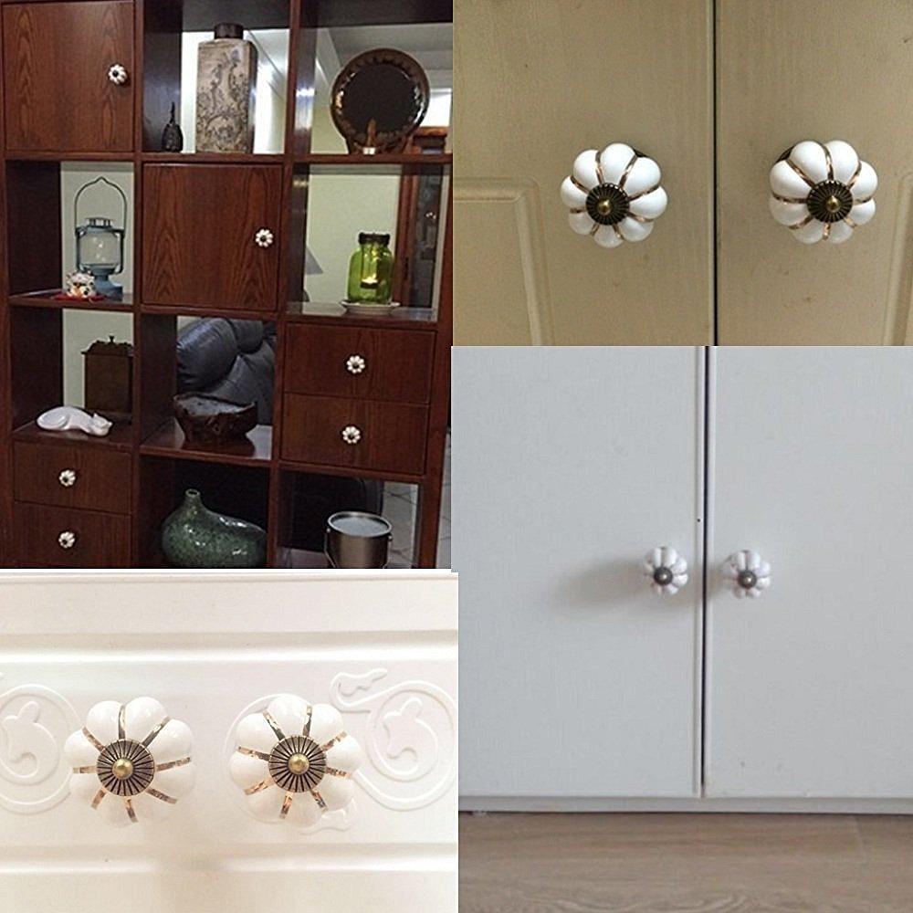 Pumpkin Ceramic Drawer Knobs, YIFAN Set of 10 Cabinet Pulls Dresser Cupboard Door Handles - White 3