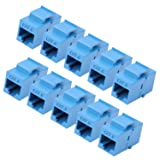RJ45 Keystone Coupler - 10Pack iGreely Cat6 Cat5e Cat5 Compatible 8P8C Ethernet Network Jack Insert Snap in Adapter Connector Port Inline Coupler for Wall Plate Outlet Panel - Blue (Color: Blue)