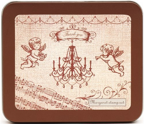 beautiful stamp set angel chandelier music notes