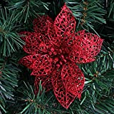 DS-15CM Hollow Artificial Flowers Christmas Decorations (Set of 4) Red