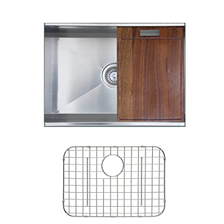Ukinox DSL620.G Modern Undermount Single Bowl Stainless Steel Kitchen Sink with Bottom Grid