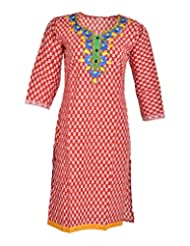 Global Women's Cotton Straight Kurta (GW15RED40015, Red, 40)