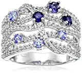 Sterling Silver Tanzanite/Iolite and Created White Sapphire Ring, Size 7
