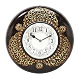 Home And Bazaar Traditional Rajasthani Wooden Wall Clock Dial With Brass Finish