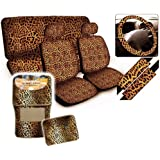 Beige Leopard Print Seat Covers & Floor Mats for Car, SUV - Auto Accessories W/ Belt Pad, Steering Wheel Cover