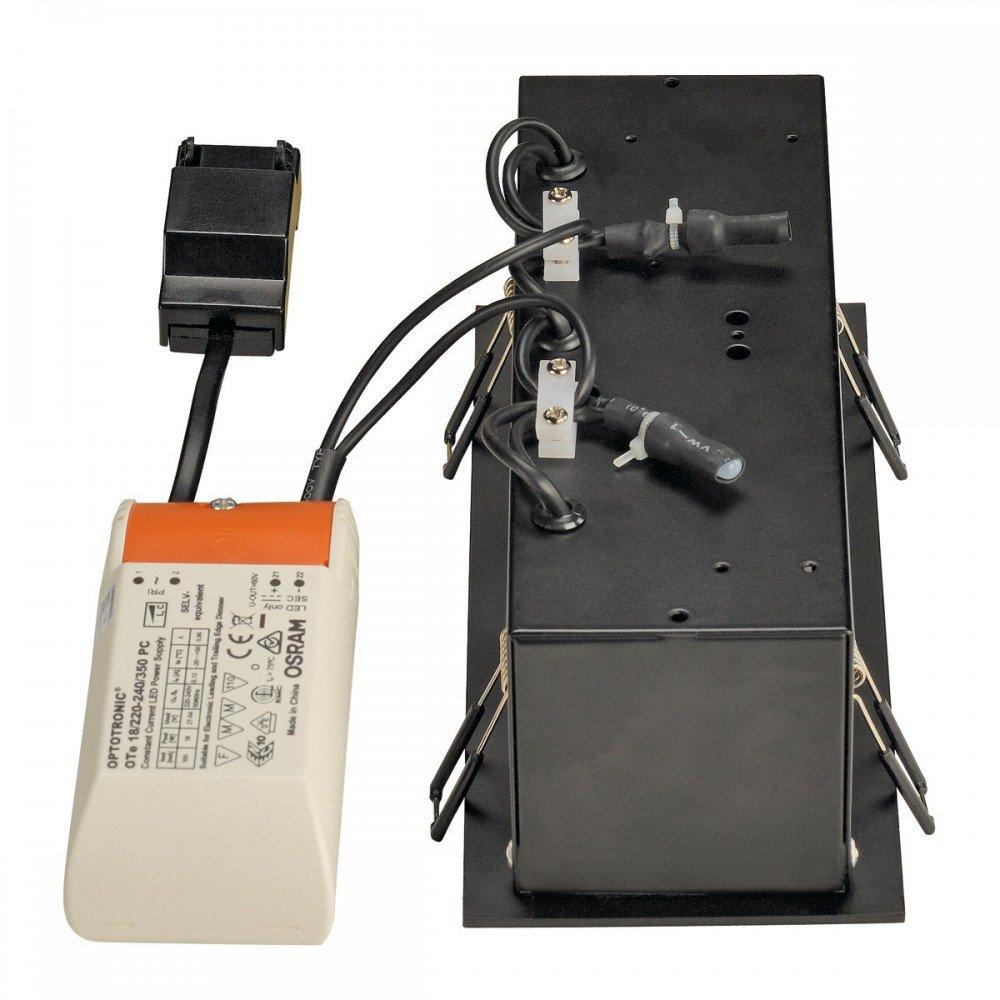 SLV Deckeneinbaustrahler Kadux Triple, 3 x 6,2W, COB LED, 3000K, 38 Grad, inklusiv Treiber, Clipfedern, schwarz 115720