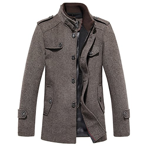 Sulandy@ Men's Winter Warm Soft Wool Blend Pea Coats Slim Fit (Coffee-thin, Us X-large(tag Xxx-large))
