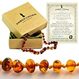 Amber Teething Necklace for Babies - Anti Inflammatory, Drooling and Teething Pain Reducing Natural Remedy - Polished Honey Certified Baltic Amber Beads