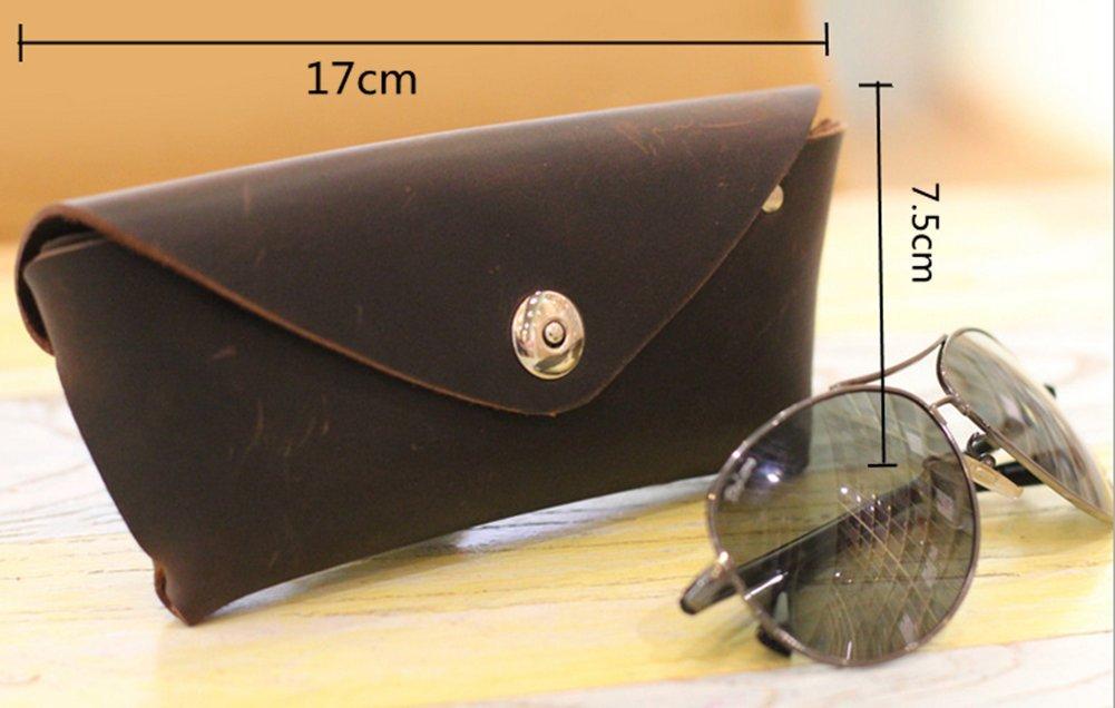 YAAGLE Genuine Leather Glasses Bag Case Soft Vintage Handmade 1
