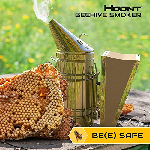 Hoont8482; Commercial Grade Bee Smoker for Beekeeping - Heavy Duty Stainless Steel with Metal Heat Shield and Metal Hook - Superior Airflow Bellow and Excellent Smoke Output (Smoker Metal compare prices)