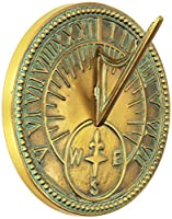 Rome Industries 2310 Roman Sundial, Solid Brass with Light Verdi Highlights, 8-Inch Diameter from Rome Industries - LG