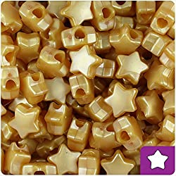 BEADTIN Gold Pearl 13mm Star Pony Beads (250pc)