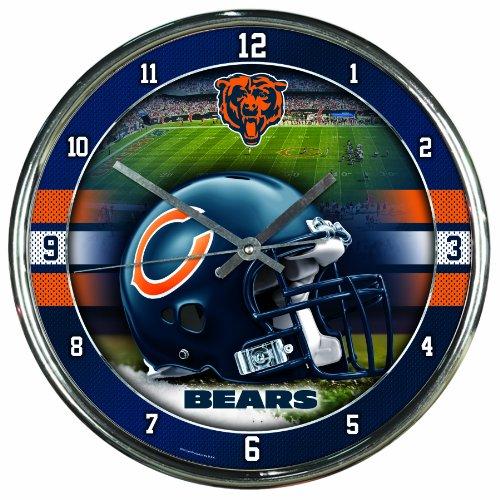 NFL Chicago Bears Chrome Clock Home Garden Decor Clocks