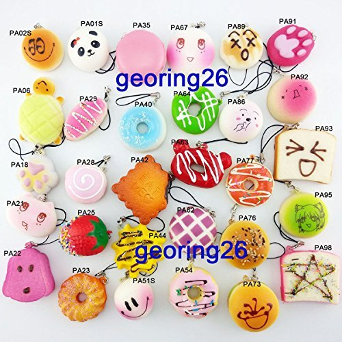 10PCS Mini Random Squishy Soft Panda/Bread/Donut/Buns/Macaroon Phone Straps (Drive Slow Cats compare prices)