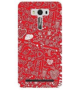 Chiraiyaa Designer Printed Premium Back Cover Case for Asus Zenfone Selfie (boy girl friend valentine miss kiss bird heart tweet typography) (Multicolor)