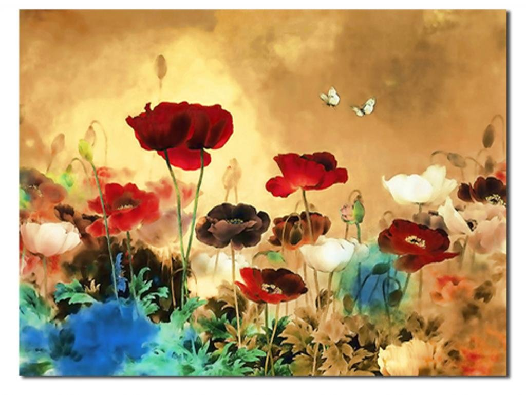 Wieco Art Canvas Prints for Blooming Poppies oil paintings Modern ...