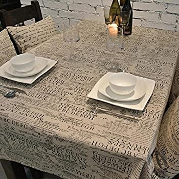 CJ Fashion Newspaper Printed Burlap Vintage Dinner Table Cloth Christmas Gifts
