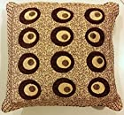 Unique and Elegant Embroidered Indian Throw Pillow Cushion Covers for Couch 15x15 Inch Set of 2 Peacock Circles Design