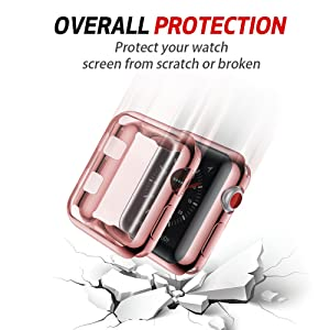 Smiling Case for Apple Watch 38mm With Buit in TPU Screen Protector All-around Protective Case High Definition Clear Ultra-Thin Cover for Apple watch 38mm Series 3 and Series 2 (Color: rose pink, Tamaño: 38 mm)