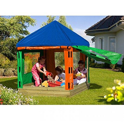 Sandkasten TONI aus Holz mit Pavillon von Gartenpirat®