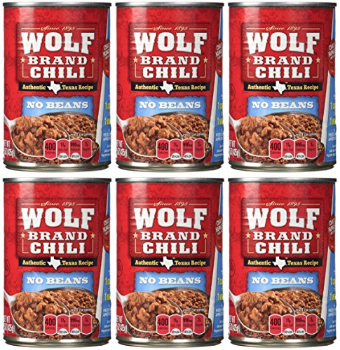 Wolf Brand Chili is made with a unique blend of seasonings and good, hearty beef for an authentic chili taste. Wolf Brand Spicy with Beans has zesty chilies and tomatoes for bold and hearty flavor that packs heat. Perfect for classic chili or to add some zest to nachos, mac and cheese, dips, or queso.