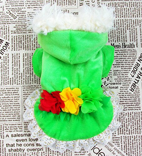 Esingyo Pet Cat Dog Velvet Winter Hoodie Flower Coat Lace Trim Small Dog Cat Clothes Green Xl