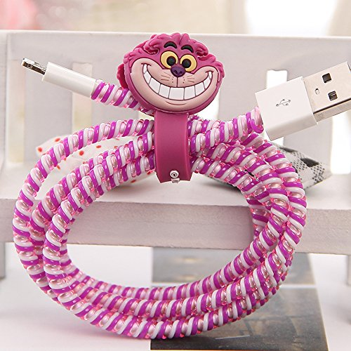 Tospania DIY Cartoon Style Spiral Wire Protectors for Apple Lightning Cables/Samsung and other Tablet Charging Cables/ Earphone Cords and More (Cheshire Cat)