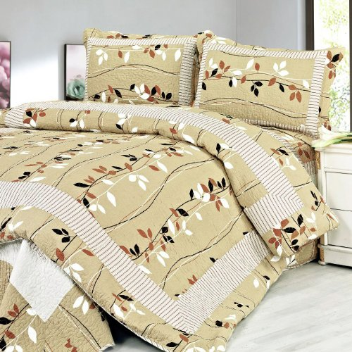 [Dancing Branch] 100% Cotton 3PC Floral Vermicelli-Quilted Patchwork Quilt Set (Full/Queen Size)