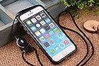Nancy's Shop [Borderline Series] Apple Iphone 6 (4.7-inch) Hang Rope Case - Long Neck Strap Hang Rope Design TPU Hybrid Bumper Shock Absorbent Case for Apple Iphone 6 (4.7-inch) At&t, Sprint, Verizon, Tmobile Verizon, T-mobile, International(iphone 6 4.7 Hang Rope Bumper Black Case)