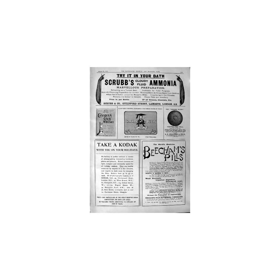 1901 Advertisement ScrubbS Ammonia Beechams Pills Kodak Canadian Whisky