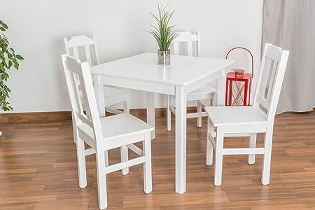 Tisch Kiefer massiv Vollholz weiß lackiert Junco 233C - Abmessung 75 x 80 x 80 cm