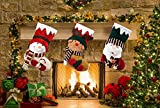 Christmas Stocking KI Store Christmas Decorations Large Christmas Stockings Vintage Set of 3 Xmas Gift Candy Bags Socks Santa Snowman Reindeer 3D Embroidered Classic Characters (18 Inch)