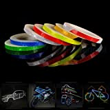AM Safety Reflective Warning Lighting Sticker Adhesive Tape Roll Strip. for Beautify Bicycle Bike Decoration (White) (Color: White)