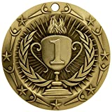 1st Place Gold World Class Die Cast Medal with Red, white & blue v-neck ribbon