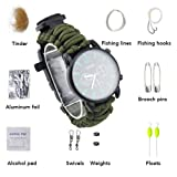 ASTRO 16 in 1 Paracord rope with watch bracelet and firestarter stainless scraper and whistle and compass multifunction outdoor survival kit 7 strand) (Army Green) (Color: Army Green)