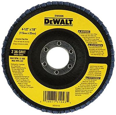 DEWALT DW8306 4-1/2-Inch by 7/8-Inch 36 Grit Zirconia Angle Grinder Flap Disc