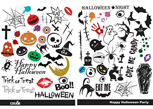 Cosjob ハロウィン タトゥー シール (A771) Halloween TATTOO フェイス ボディ イベント パーティー イベント 子供 大人 男 女 兼用 グッズ コスプレ 仮装 衣装 小物 (A+Bセット)