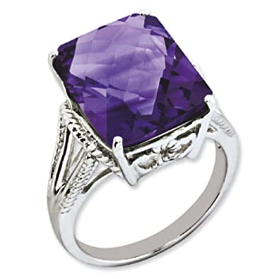Sterling Silver Octagonal Amethyst Ring - Ring Size Options Range: J to T