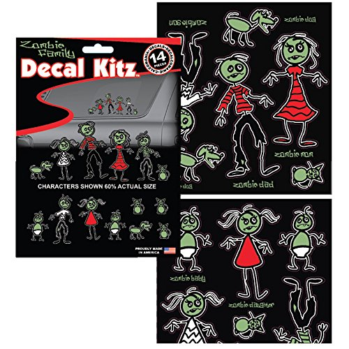 Zombie Dead Family Car Truck SUV Home Office School Classic Emblem Sticker Decal Kit - 14PCS