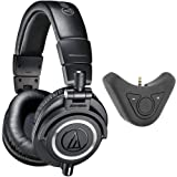 Audio-Technica Professional Studio Headphones Black (ATH-M50x) with Deco Gear Bluetooth Adapter and Amplifier Studio Headphones (Color: black)