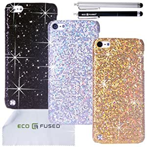 Eco-Fused Case Bundle for Apple iPod Touch 5 including 3 Bling Glitter Hard Cases / 2 Stylus Pens / 2 Screen Protectors / Microfiber Cleaning Cloth - Perfect for Girls - (Black Silver Gold)