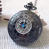 Vintage Antique Doctor Who Time Machine Pocket Watch Hand Craft Time Travel Clock Roman Numerals Pocket Watch with Blue Gem