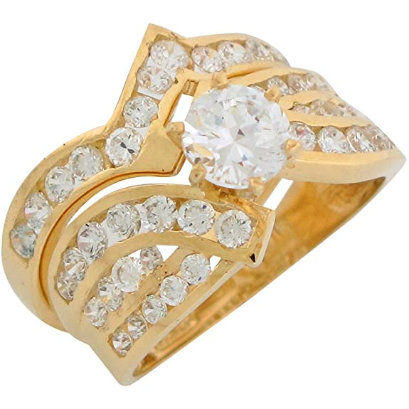 14ct Yellow Gold White CZ Stunning Ladies Wedding Set Duo Rings