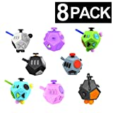 Fidget Cube (8 Pack) - in 8 Individual Boxes - Great Birthday Party Favors for Kids - Four Color Assortment - Fidget Toys for Kids & Adults - Relieves Boredom, Stress & Anxiety (Color: Assorted)