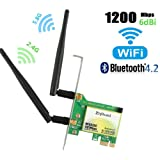 WiFi Card AC1200Mbps Wireless WiFi Card,Wireless PCI Express Adapter,802.11 AC Dual-Band 1167Mbps(5Ghz-867Mbps/2.4Ghz-300Mbps) Network Card with Bluetooth 4.2,PCIE Wi-Fi Adapter for PC (WIE 8260) (Color: WIE8260-wireless dual-band 802.11AC 1730Mbps WiFi card with Bluetooth 4.2, Tamaño: WIE8260)