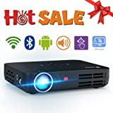 "WOWOTO H8 3500 Lumens Mini Projector LED DLP 1280x800 Real Mini Home Theater Projector WXGA Support 3D 1080P HD Perfect for Entertainment Business Wireless Screen Share Android HDMI USBx2 RJ45 176""± (Color: Black-H8)"