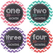 Pinkie Penguin Chalkboard With Arrow Baby Monthly Stickers - Baby Girl Bridal Theme - Milestone Onesie Stickers...