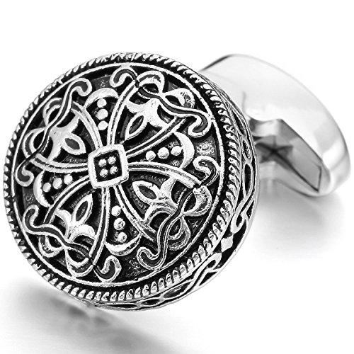 TEMEGO Jewelry Mens 2pcs Rhodium Plated Vintage Gothic Cross Engraved Flower Wedding Cufflinks Shirt Cufflinks, Black Silver
