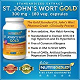 Nutrigold St. Johns Wort Gold (European Pharma Grade) (Clinically-proven), 300 mg, 180 veg. capsules